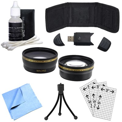 Wide Angle Lens, Memory Card Wallet, Mini Tripod, Cleaning Kit and More