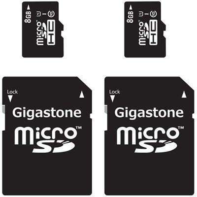 MicroSD HC 8GB C10 U1 With SD Adapter 2-Pack Bundle