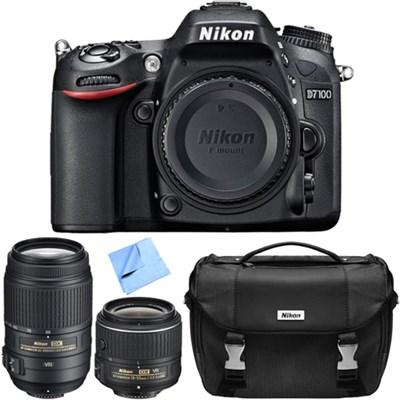 D7100 DX-Format Digital SLR Camera w/ 18-55mm + 55-300mm Lens Refurbished Bundle