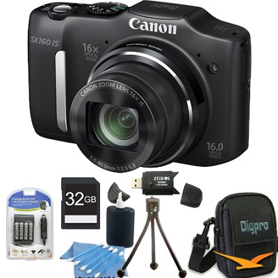 Powershot SX160 IS 16MP 16x Zoom Black Digital Camera 32GB Bundle