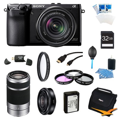 NEX-7K/B Compact Camera with 18-55 + SEL 55-210, 20mm f.28 Lens Bundle