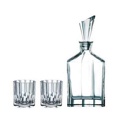Aspen Decanter Set with Stopper and Whisky Tumblers, Clear