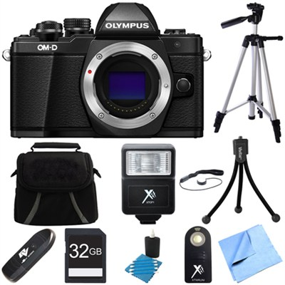 OM-D E-M10 Mark II Mirrorless Micro Four Thirds Digital Camera Black Body Bundle