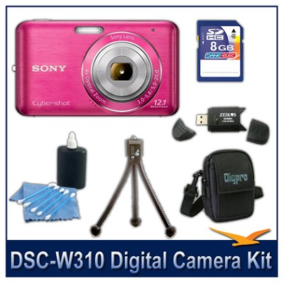 DSC-W310 Digital Camera (Pink) with 8GB Card, Case, and More