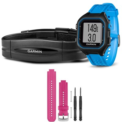 Forerunner 25 GPS Fitness Watch w/ Heart Rate Monitor Large Blue - Pink Bundle
