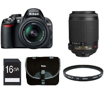 D3100 14MP DX-format Digital SLR Kit w/ 18-55mm and 55-200mm Lenses Bundle Deal
