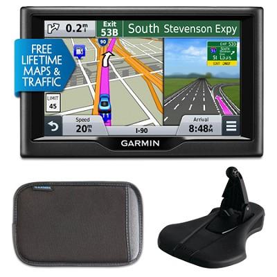 nuvi 57LMT 5` Essential Series 2015 GPS Maps/Traffic Mount & Case Bundle