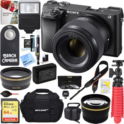 ILCE-6300 a6300 alpha 4K Mirrorless Camera 50mm f1.8 Prime Lens 64GB Bundle