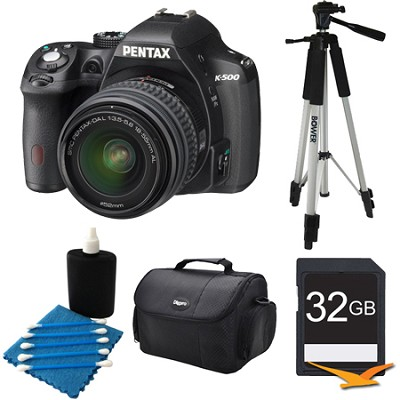 K-500 Black w/ 18-55mm Lens 16MP Digital SLR Camera Kit 32GB Bundle