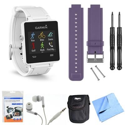 vivoactive GPS Smartwatch - White (010-01297-01) Purple Replacement Band Bundle
