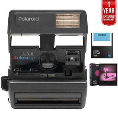 Polaroid 600 Square Camera Black w/ Flash + 1 Year Extended Warranty