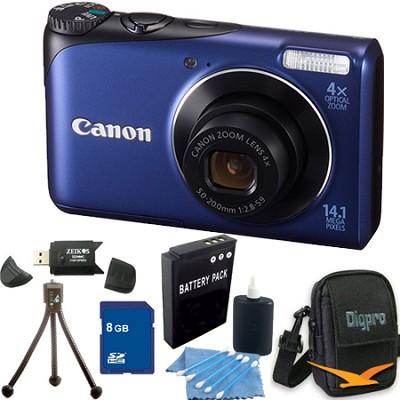 PowerShot A2200 14MP Blue Digital Camera 8GB Bundle