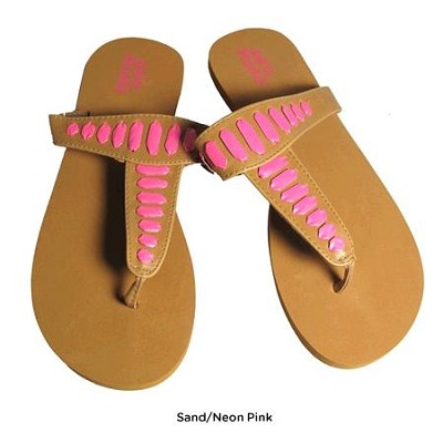 FOM277 Sandals Sand/Neon Pink Size Small (5/6)