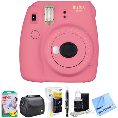 Instax Mini 9 Instant Camera Pink with AA Batteries & Charger Bundle