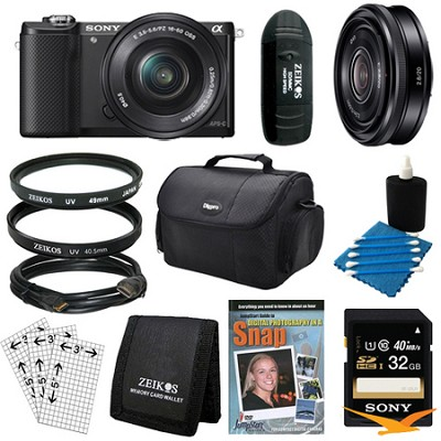 a5000 Compact Interchangeable Lens Camera Black 16-50mm & 20mm F2.8 Lens Bundle