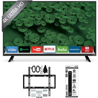 D40u-D1 40-Inch 120Hz 4K UHD Full-Array LED Smart TV w/ Flat Wall Mount Bundle