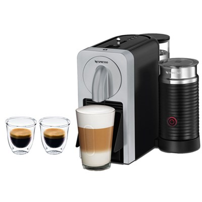 Prodigio Smart Connected Coffee & Espresso Maker & Milk Frother Silver + Glasses