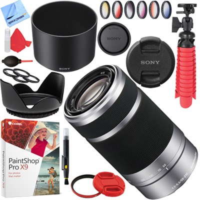 SEL55210 - 55-210mm Zoom E-Mount Lens (Silver) with 49mm Filters Kit
