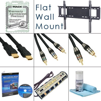 HDTV Essentials Bundle (Cables, Power, Warranty Extention, Flat Mount, Plus...)
