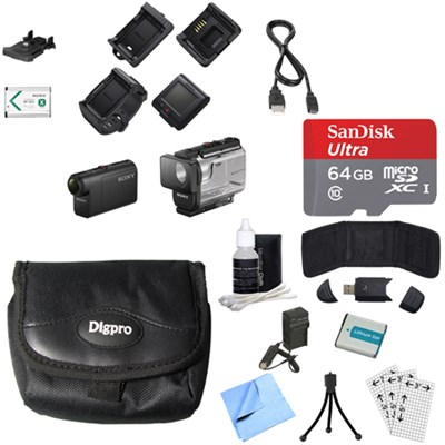 HDRAS50R/B Full HD Action Cam + Live View Remote Bundle 64GB Memory Card Bundle