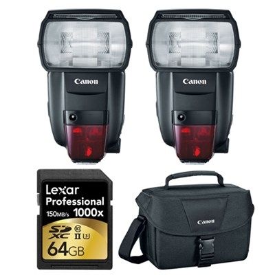 2 600EX II-RT Speedlite Flashes, 64GB Card, and Bag Bundle