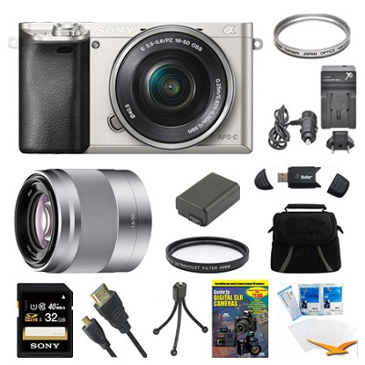 Alpha a6000 Silver Camera with 16-50mm Lens, 50mm Lens, and 32GB Card Bundle