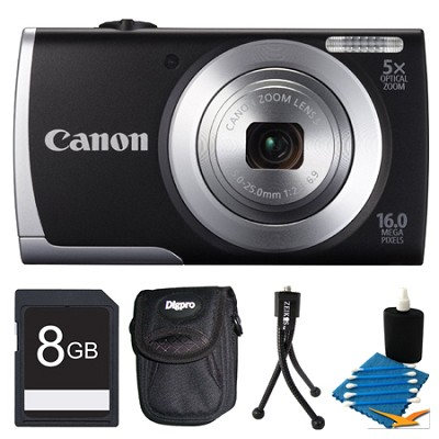 Powershot A2500 Black Digital Camera 8GB Bundle