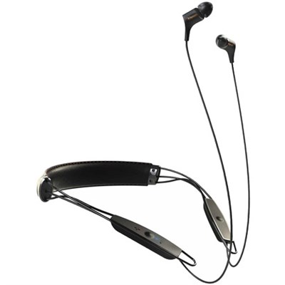 R6 Neckband Earbuds Bluetooth Headphone - Black Leather - 1062796