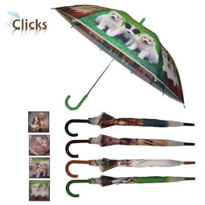 Cozzy Doggy Print Automatic Stick 46` Umbrella - Blue Handle