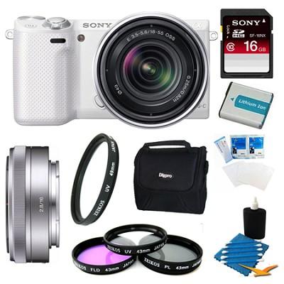 NEX-3NL White Digital Camera 16-50mm Lens 16GB 16mm f/2.8 Lens Bundle