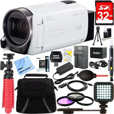 VIXIA HF R700 Full HD White Camcorder + 32GB Card and Accessory Bundle