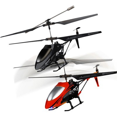 Air Duel - Twin Pack of Gyro Balanced Remote Controlled Helicopters, Black & Red