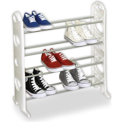 12 Pair Shoe Rack with 4 Tiers - White