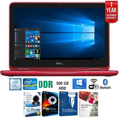 I3179-0000RED Inspiron 11.6` Intel M3-7Y30 2-in-1 Laptop+Software+Warranty