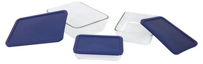 Storage 6-Piece Rectangular Set, Clear with Blue Lids