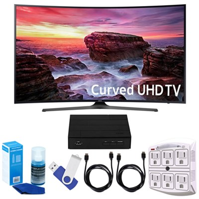 Curved 49` 4K UHD Smart LED TV + Terk HD TV Tuner 16GB Hook-Up Bundle