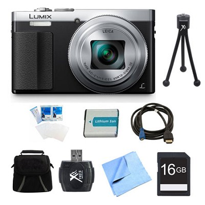 LUMIX ZS50 30X Travel Zoom Silver Digital Camera 16GB Bundle