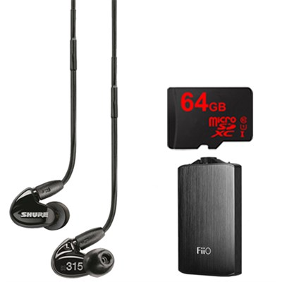 SE315 Earphones (Black) w/HD MicroDriver & Tuned BassPort, FiiO A3 Amp Bundle