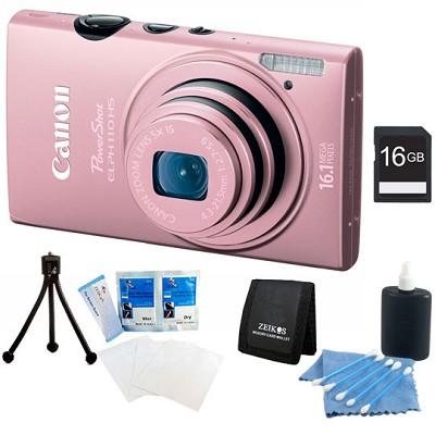 PowerShot ELPH 110 HS 16.1MP Pink Digital Camera 5x Zoom HD Video 16 GB Bundle