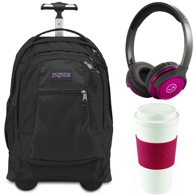 Backpack Travel Essential Bundle - Black/Cherry Red/Pink