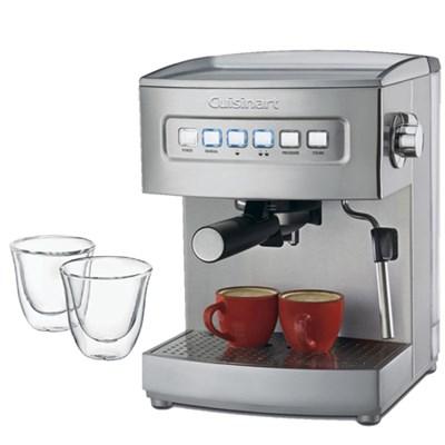 EM-200 Programmable 15-Bar Espresso Maker,Stainless Steel Fctry Refurb w/Glasses