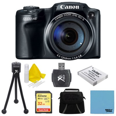 PowerShot SX510 HS 12.1 MP Digital Camera 32GB Bundle
