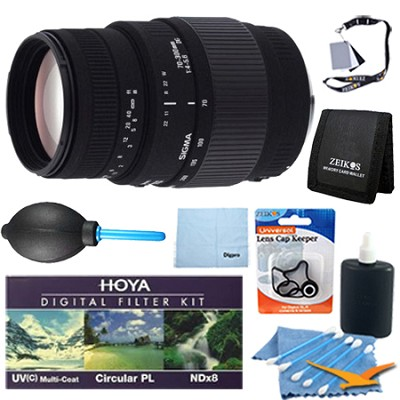 70-300mm f/4-5.6 DG Macro Telephoto Zoom Lens for Canon DSLRs - Pro Lens Kit
