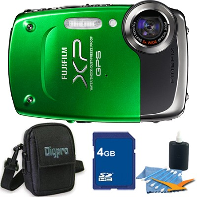 FINEPIX XP30 14 MP Waterproof Digital Camera 5x Zoom Lens (Green) - 4GB Bundle