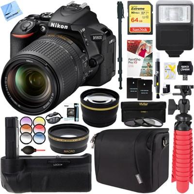 D5600 24.2MP DSLR Camera + AF-S 18-140mm ED VR Lens Battery Grip Accessory Kit
