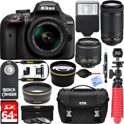 D3400 DSLR Camera w/ AF-P DX 18-55mm & 70-300mm Zoom Lens 64GB Accessory Bundle