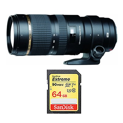 SP 70-200mm F/2.8 DI VC USD Telephoto Zoom Lens and 64GB Card Bundle