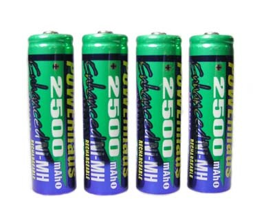 Pack OF 4 2500 AA NMH Rechargeable Batteries (charger not included)