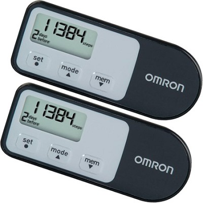 HJ-321 Tri-Axis Optimized Pedometer - Black - 2 Pack
