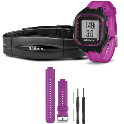 Forerunner 25 GPS Fitness Watch w/ Heart Rate Monitor Small Purple Bundle